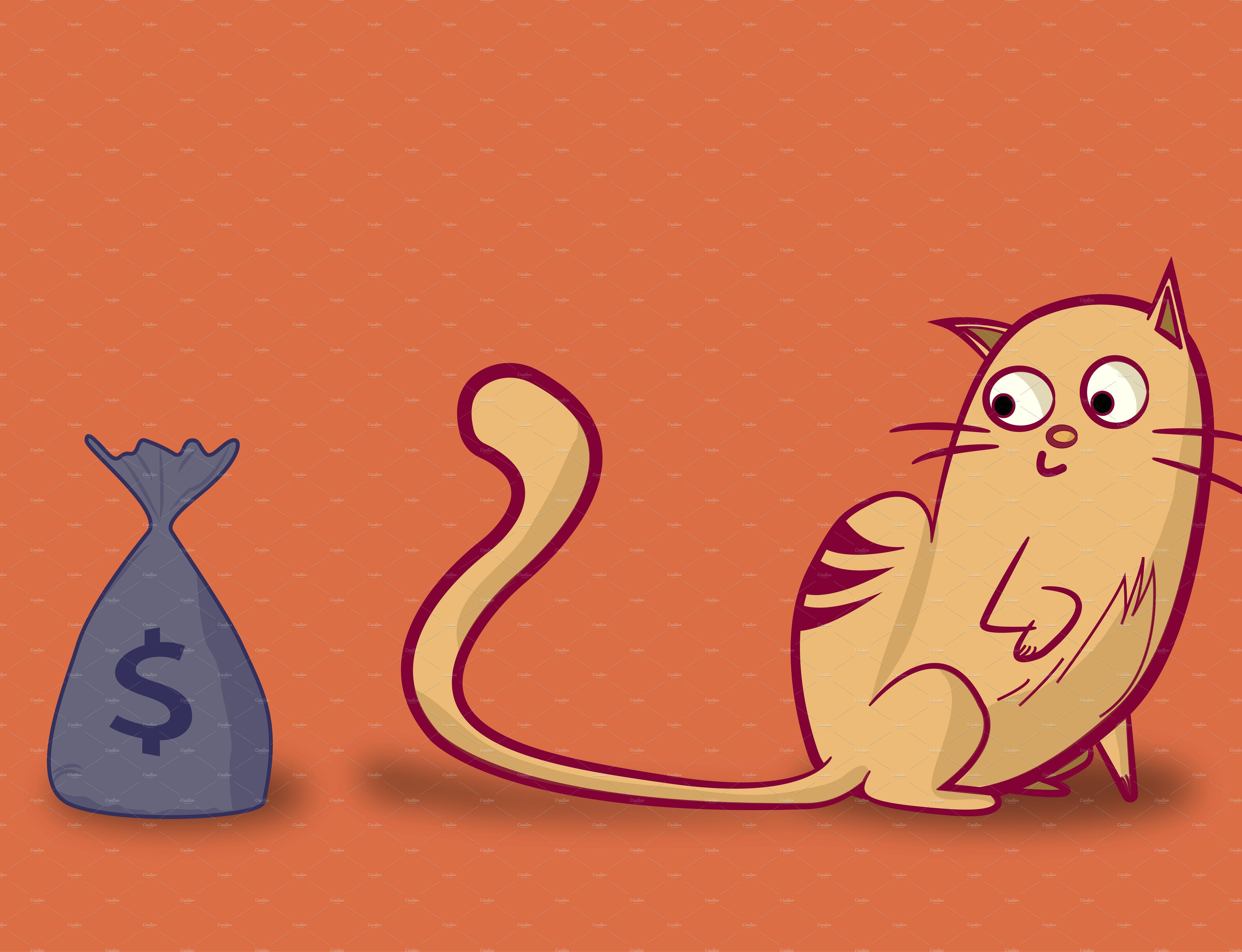 Cat looking at a bag of money by Dayā Design on @creativemarket
