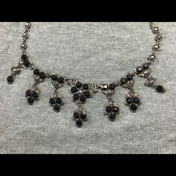 Black and Gunmetal Grey Necklace This is a great piece of costume jewelry. It's a gunmetal grey necklace with black stone design. Works perfectly with a high neck dress. Jewelry Necklaces