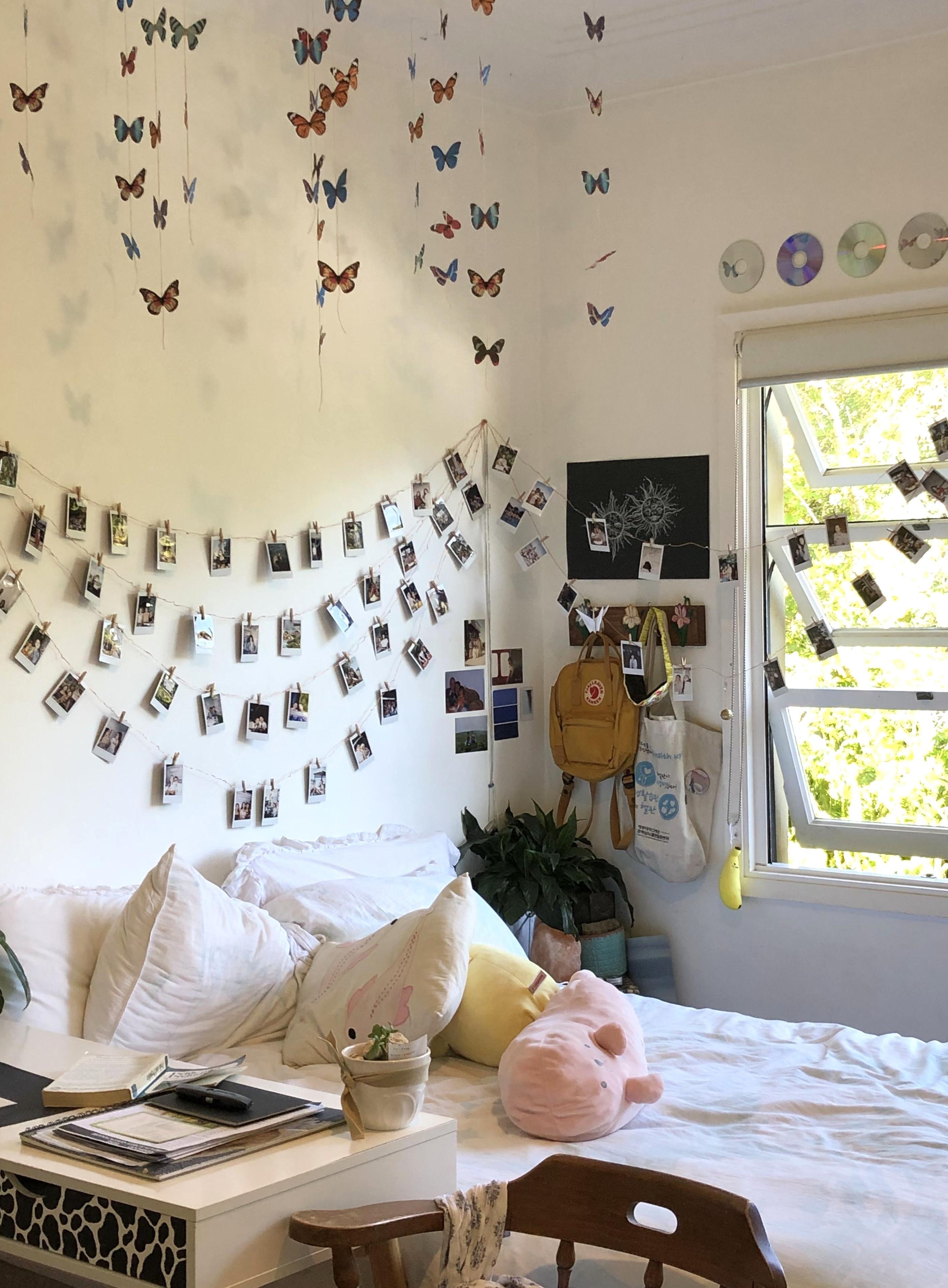 Room Bedroom Aesthetic Sleepover Fairy Lights Kanken Polaroid Wall Room Decor Diy Bedroom Decor Tumblr Retro Ph Retro Room Aesthetic Room Decor Room Wall Decor