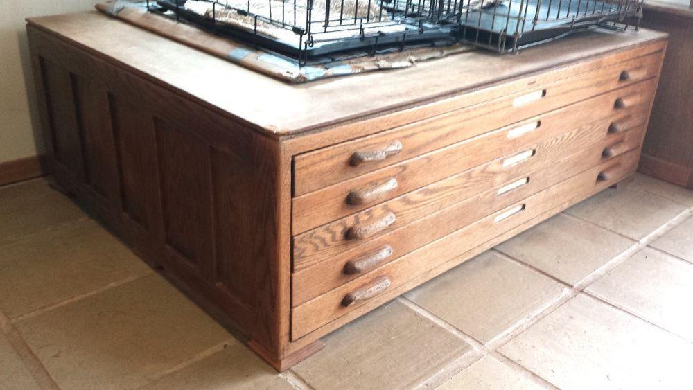 Vintage Wooden Hamilton architect's flat file, map, blueprint cabinet #Hamilton
