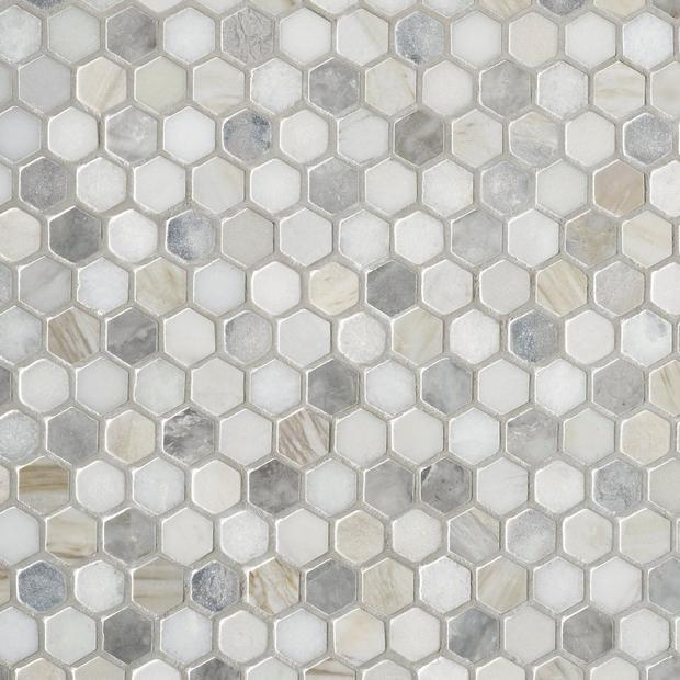Coastal Ivory Blend 1 In Honed Marble Mosaic In 2020 Marble Mosaic Honed Marble Polished Marble Tiles