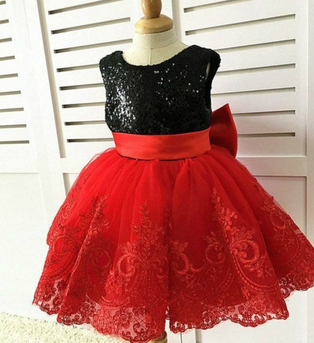 Age 14 Girls Beautiful Red Sequin Layer Tiered Skater Party Dress Size Age 9