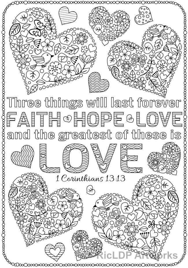 3 Printable Love Bible Verse Coloring Pages Corinthians Digital Downloads