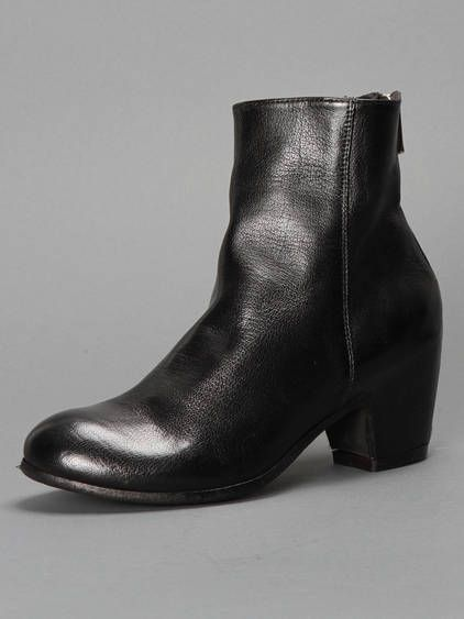 OFFICINE CREATIVE BLACK LEATHER ANKLE BOOTS WITH 4CM HEEL AND BACK ZIP CLOSURE