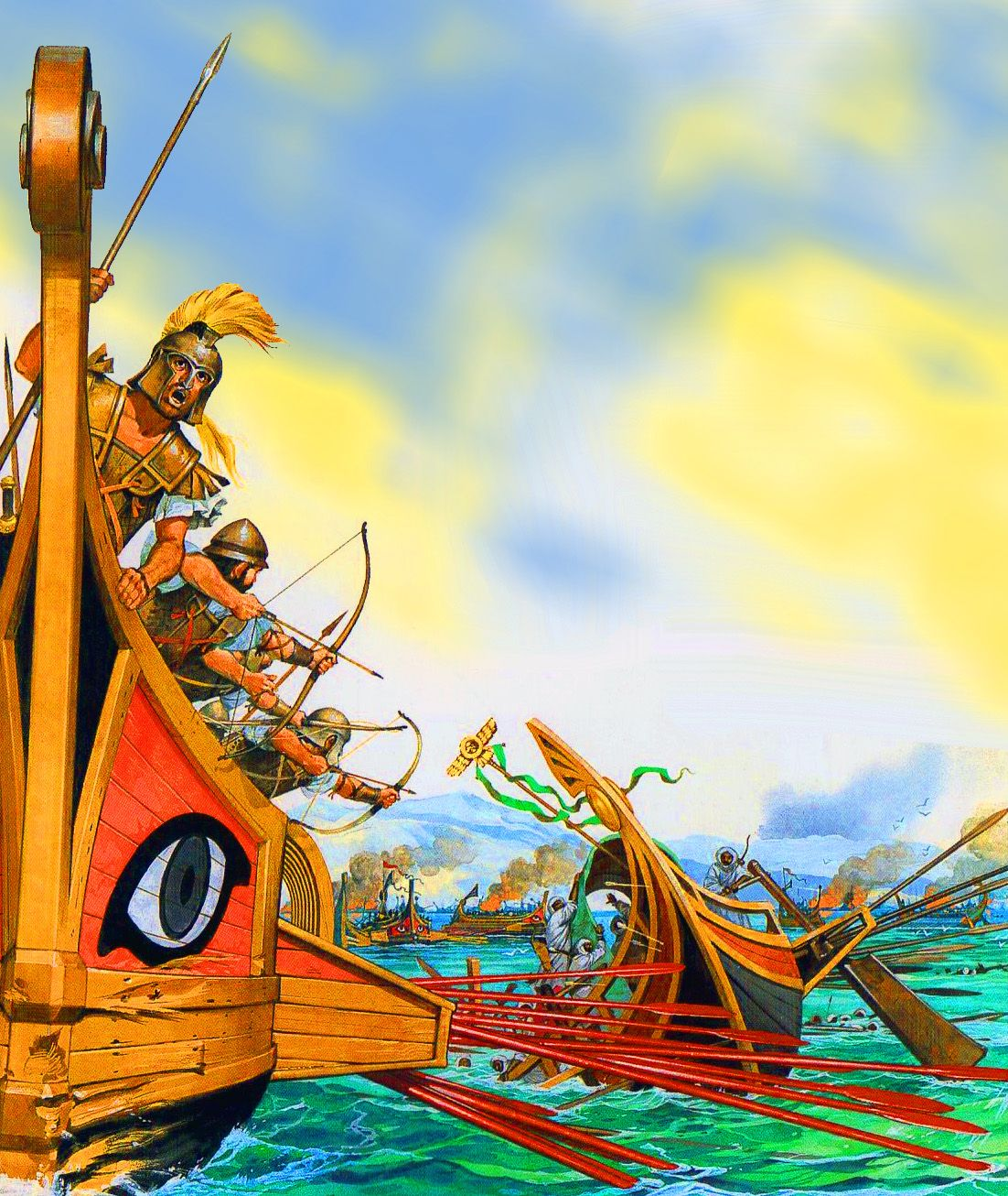 Greek triremes ships at the Battle of Salamis | Ancient ...