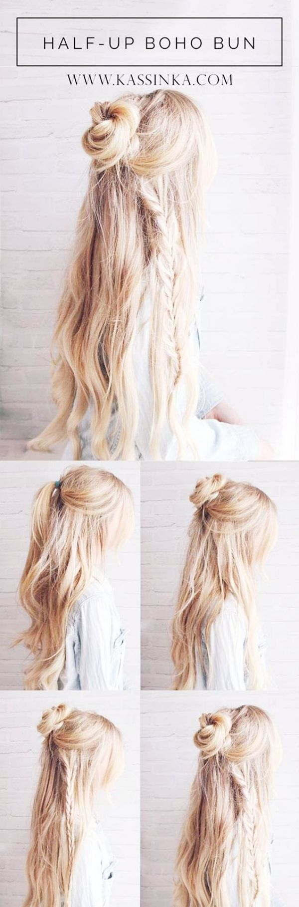 Hal up Boho Bun ||| Half up Half Down Hairstyles ||| Updo Hairstyles ...