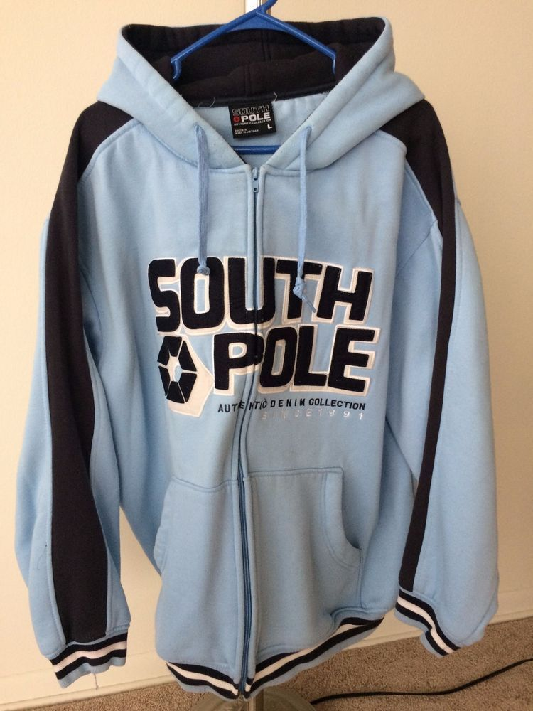 Southpole Light Blue Mens Thick Zip Up Hood Size L Large