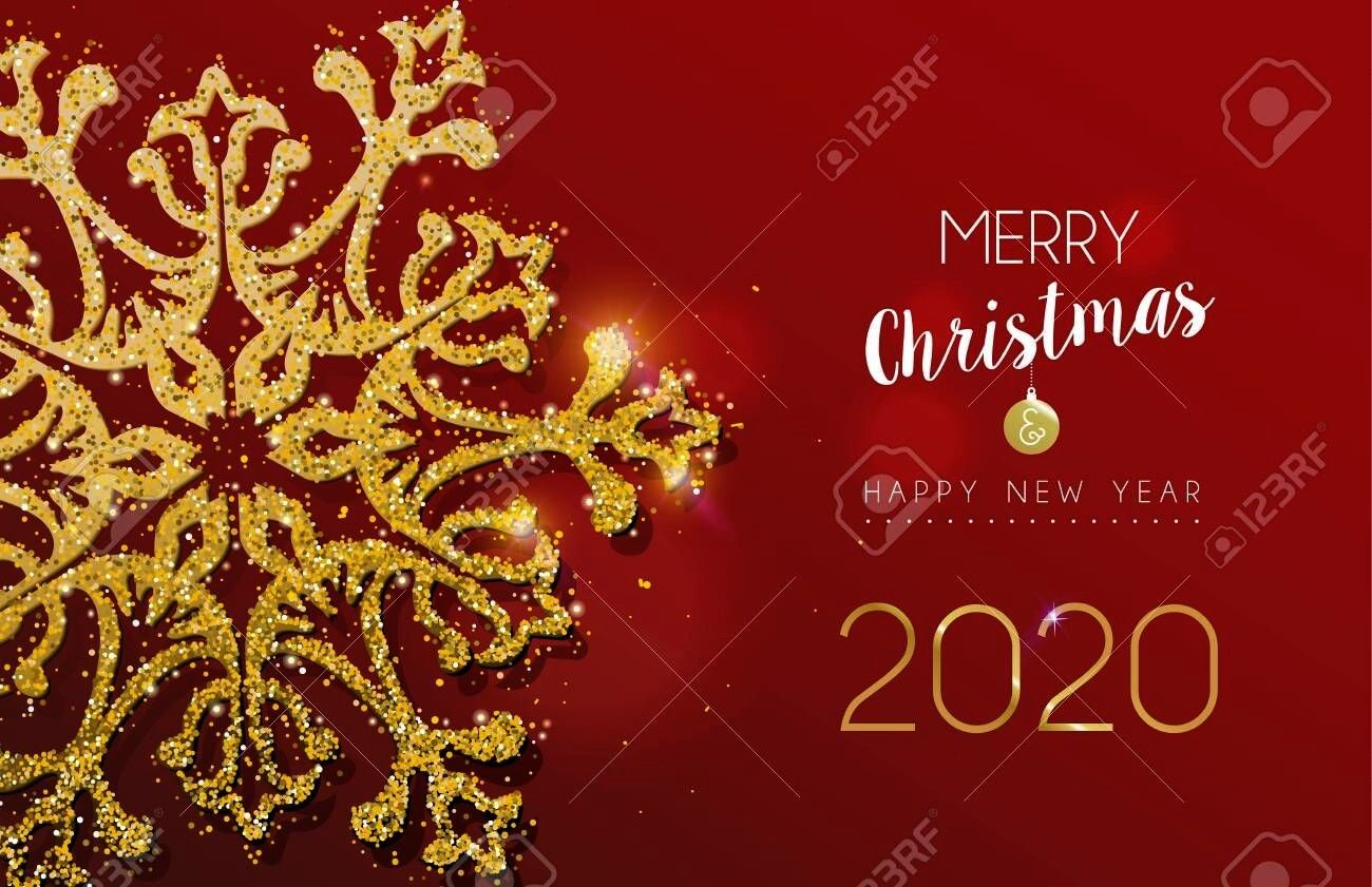 Christmas and Happy New Year 2020 message with gold snowflake made of realistic golden glitter dust Ideal for holiday card or luxury party invitation Merry Christmas and...