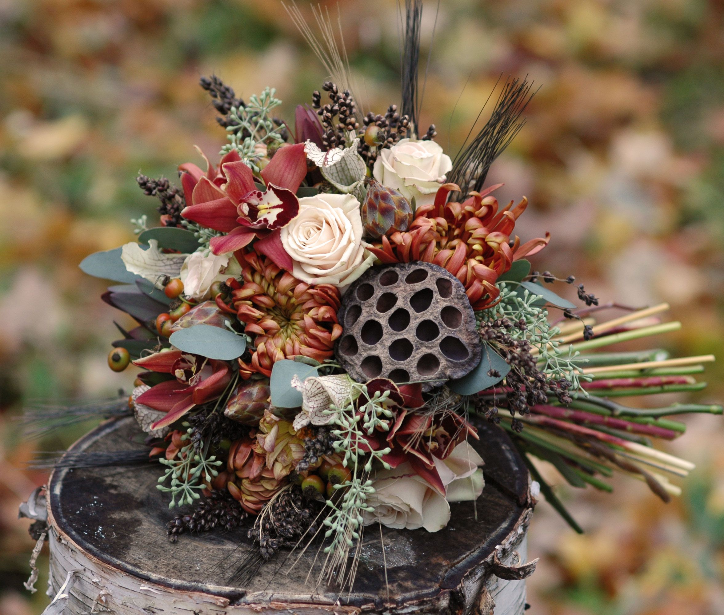 Vermont Wedding Flowers: Fall Inspired Bridal Bouquet Featuring Copper Cymbidium