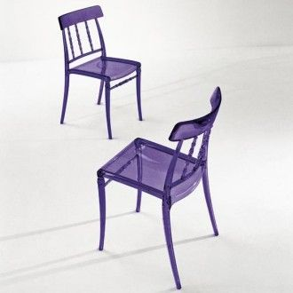 Giuseppina stackable chair in glossy purple semi-transparent polycarbonate