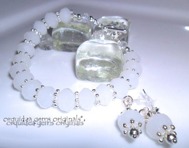 Milky White Crystal & Silver Beaded Bracelet and Earrings Set