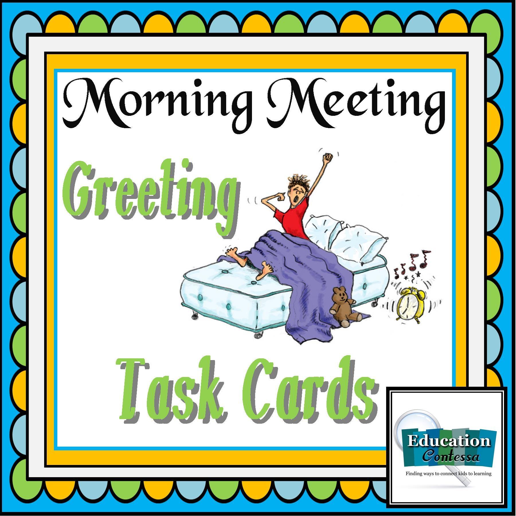Morning Meeting Greeting Task Cards Debbie Diller Inspired Ideas