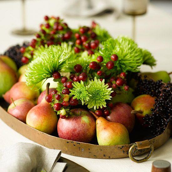 29 Easy Fall Centerpieces Starring Natural Elements Fruit Centerpieces Fall Flower Arrangements Fall Centerpiece