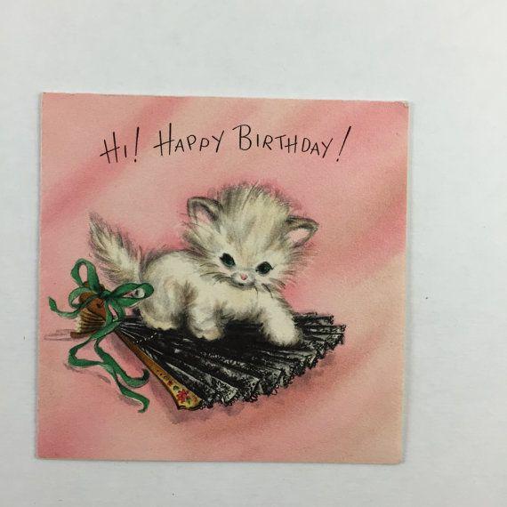 Kitten Birthday Card Vintage Birthday Greeting Cards Ii