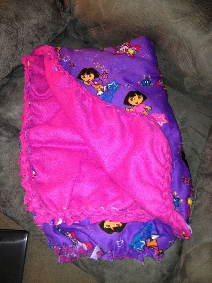 Dora Blanket, knitted edge. sewn, to prevent unraveling.
