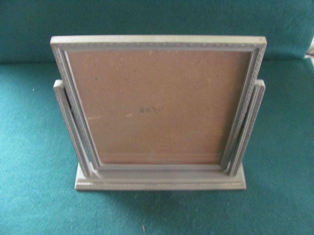 Vtg Art Deco Wooden Swing Stand Up Platform W Picture Frame Glass Picture Frames Wooden Swings Art Deco