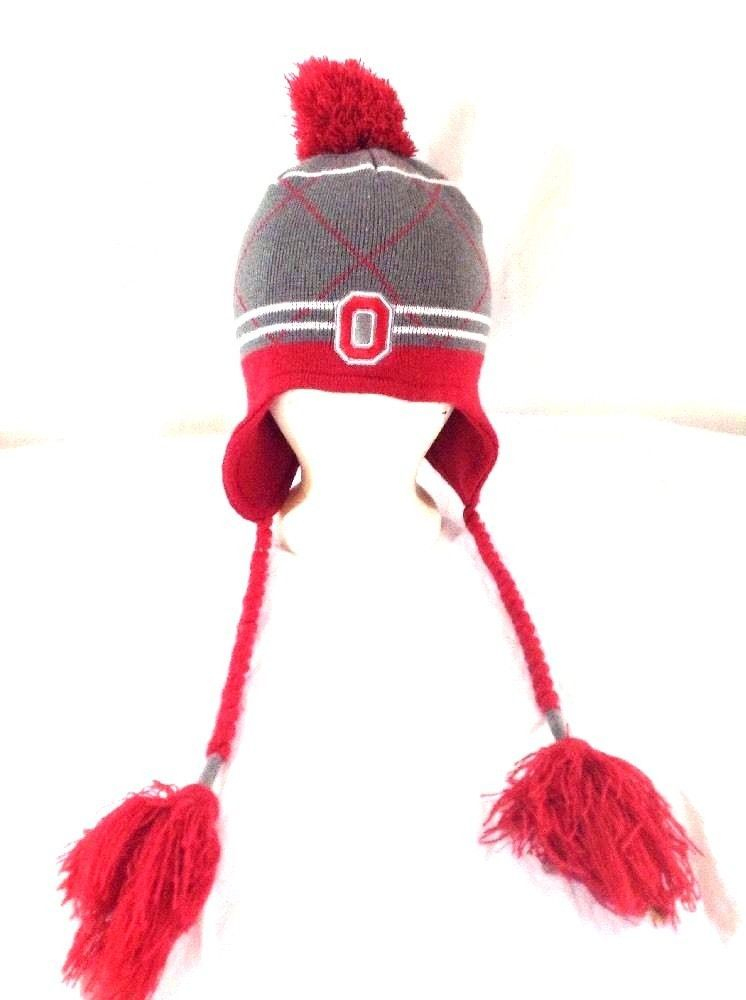 0b017875a7db05 Ohio State Buckeyes Hat Pom Winter Knitted Beanie Cap W Ear