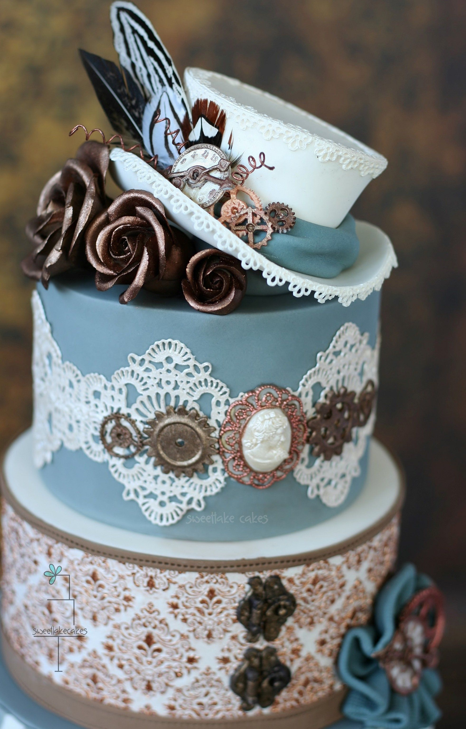 Gorgeous Steampunk Wedding Cake In Blueetallics I Think It Should Have 2 Hats As A Topper Surely