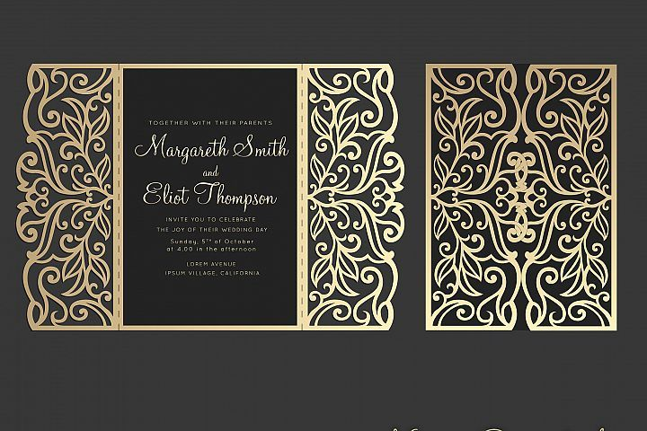Gate Fold Wedding Invitation 5x7 Svg Cricut Template 96308 Card Making Design Bundles Cricut Wedding Invitations Wedding Invitation Templates Beach Wedding Invitations