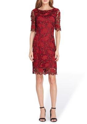 d96f9f2f Tahari Asl Women's Short Sleeve Chemical Lace Sheath Dress - Merlot/Wine -  12