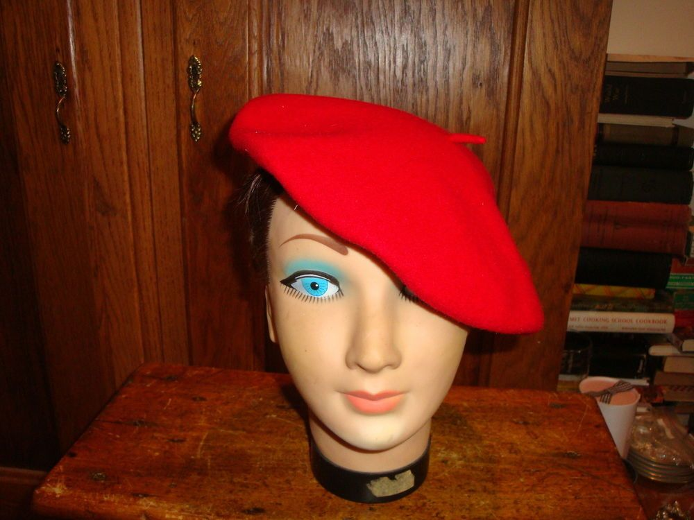 hats - Red French Beret. One Size