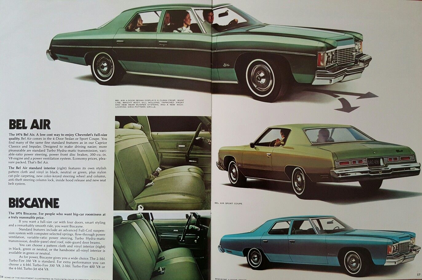1974 Chevrolet Bel Air and Biscayne Car ads, Chevrolet