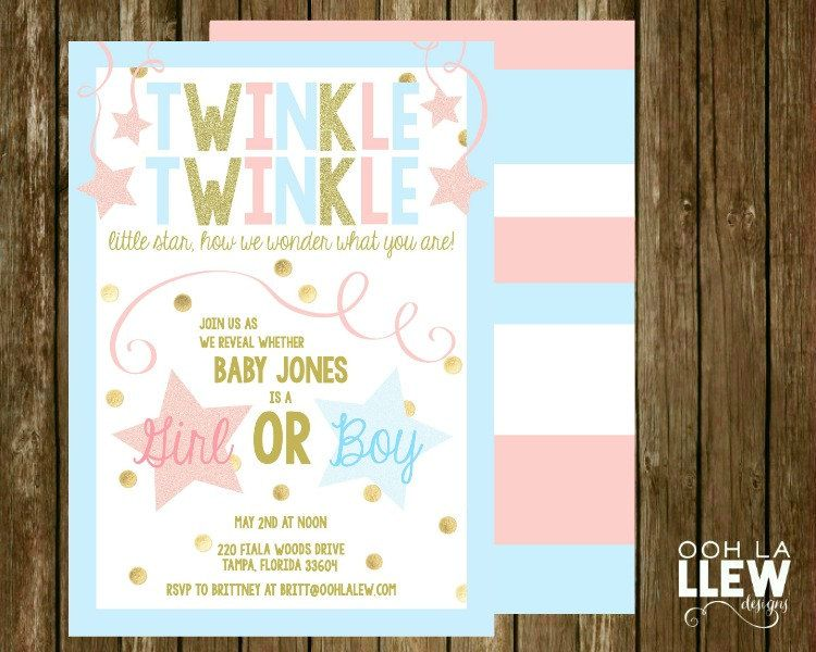 twinkle twinkle invitation, twinkle twinkle gender reveal, party, Baby shower invitations
