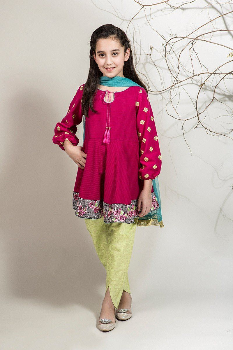 7bf988fdd71 Suit Pink MKD-139 Pakistani Kids Dresses