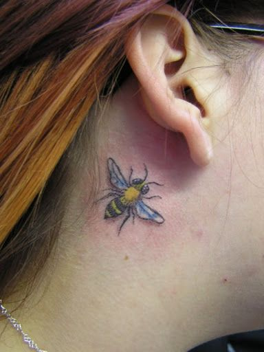 3d Bee Ear Tattoos Behind The Ear Designs For Women Bee Tattoo Honey Bee Tattoo Heart Tattoo Designs