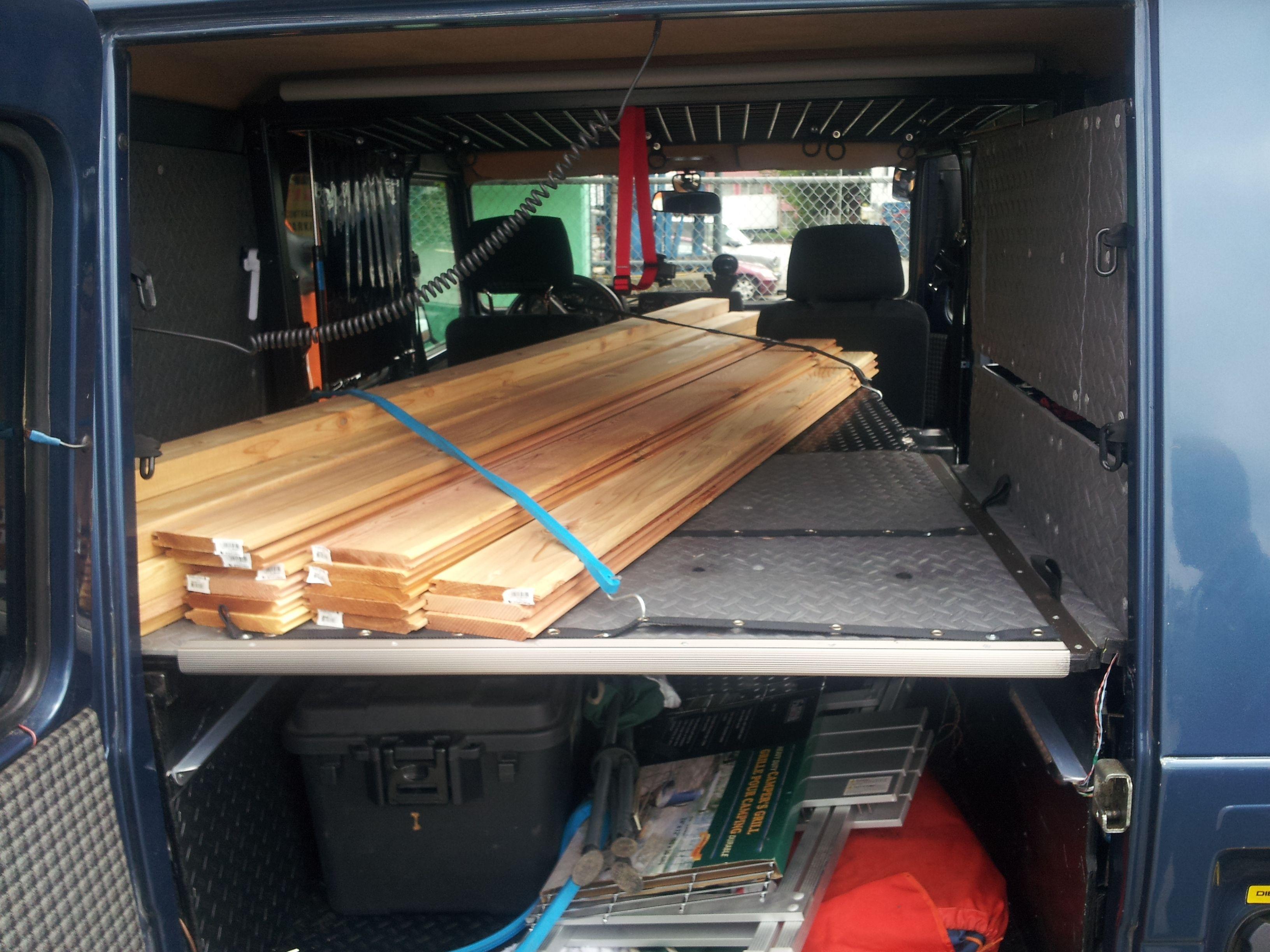 flat interior sleeping platform 8 feet long removable