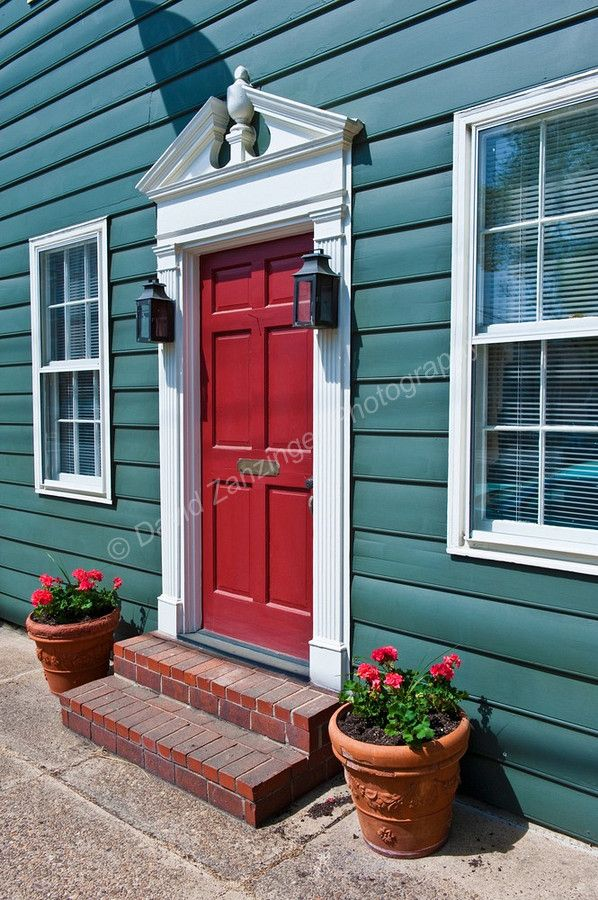 Another red door green house white trim for the home for Green house white trim