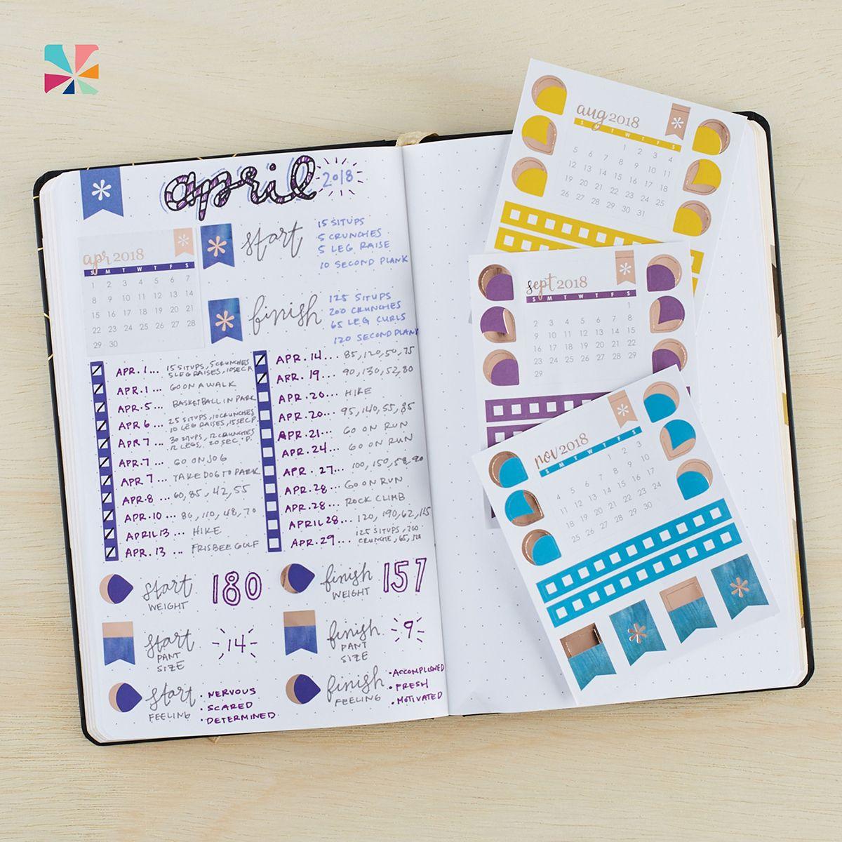 2020 Mini Calendar Sticker Pack Calendar stickers, Paper