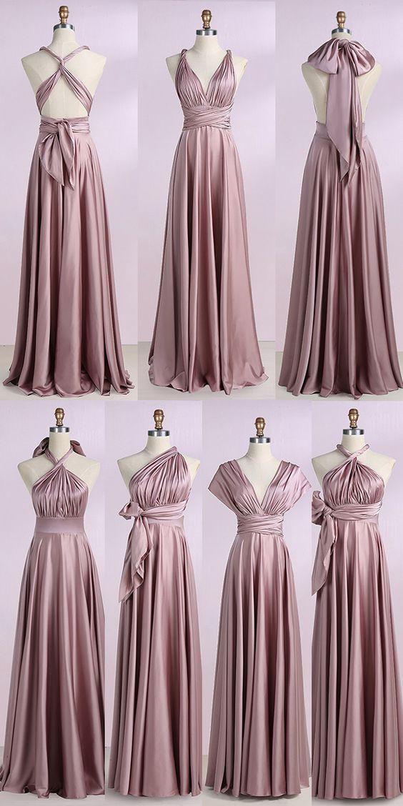 ALine VNeck Blush Stretch Satin Convertible Prom Bridesmaid Dress Formal Evening DressCustom Madealine