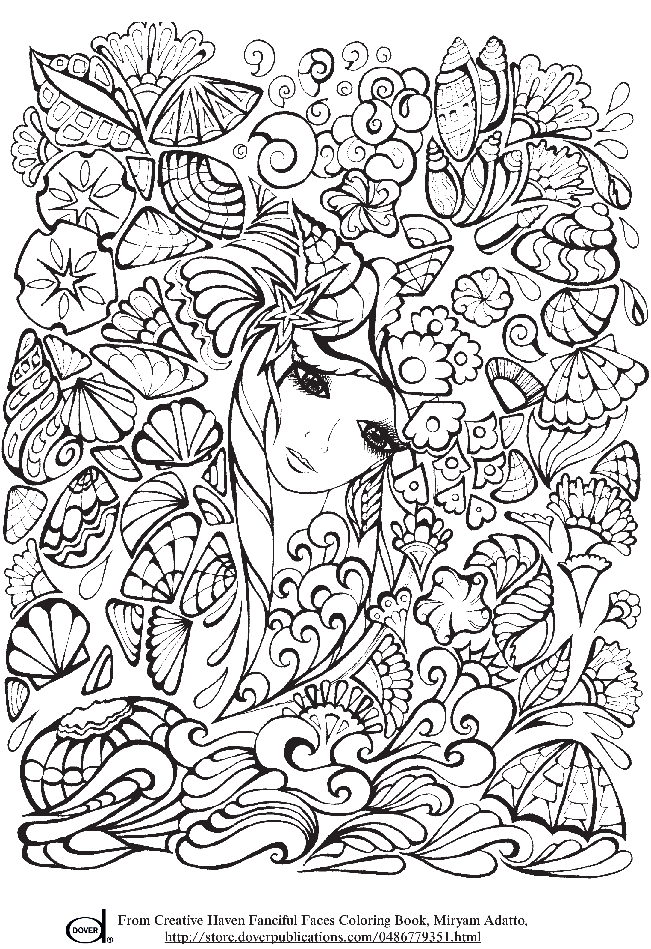 Free Printable Adult Coloring Pages - Anime - Girl with Flowers