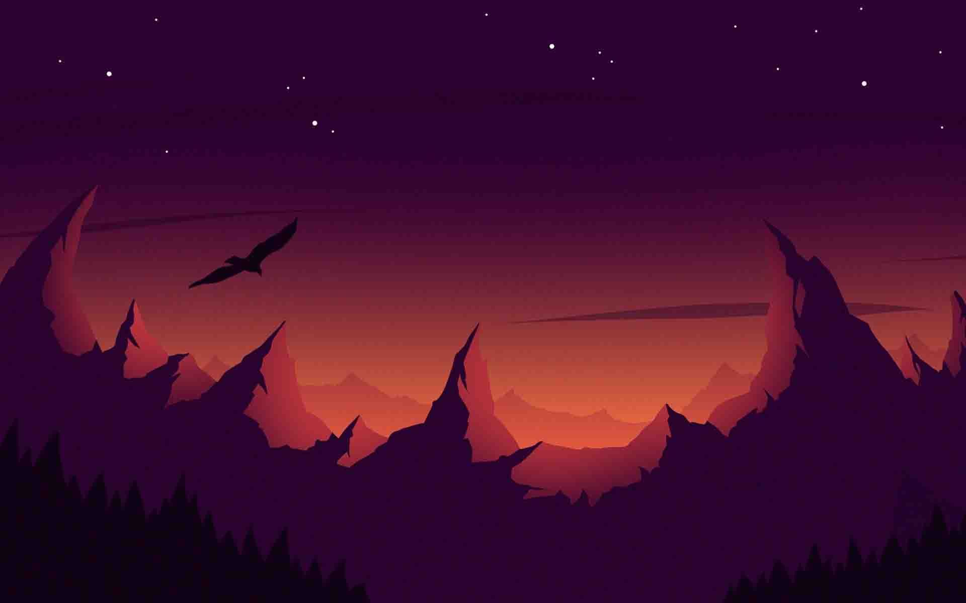 Mountains Vector Desktop Wallpaper Art Bird Silhouette Hd Wallpaper