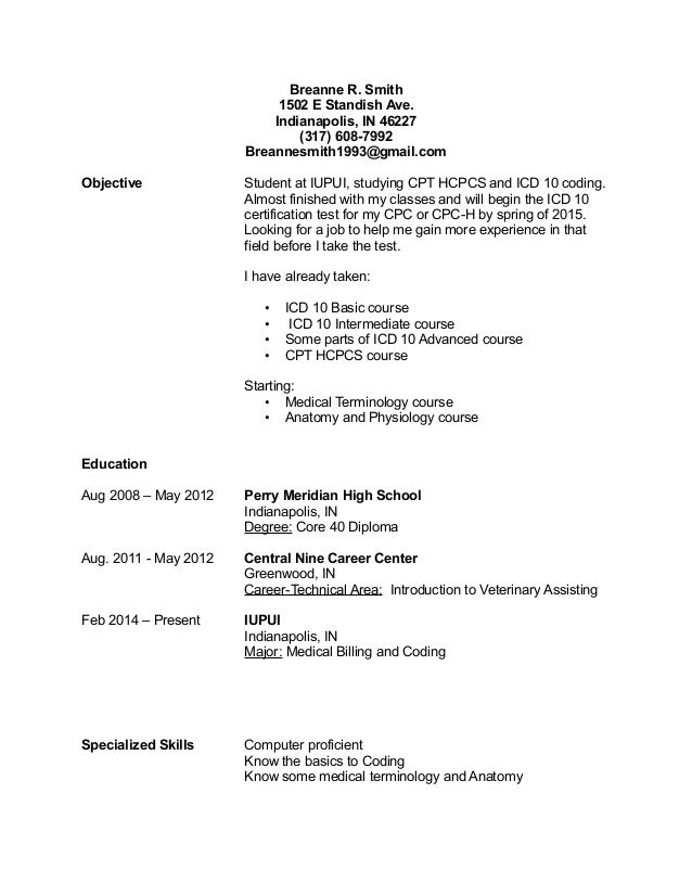 breanne smith standish ave indianapolis billing clerk resume - clerk resume