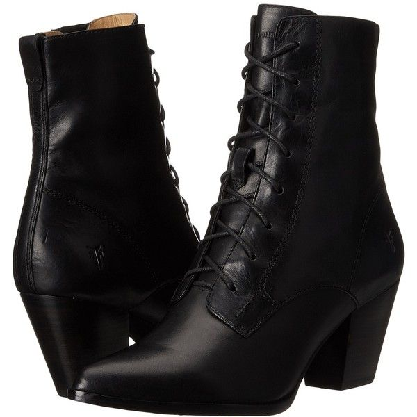 Frye Renee Lace Up (Black Smooth Oiled Veg) Women's Dress Lace-up... ($348) ❤ liked on Polyvore featuring shoes, boots, ankle boots, leather lace up boots, short lace up boots, lace up boots, short boots and black boots