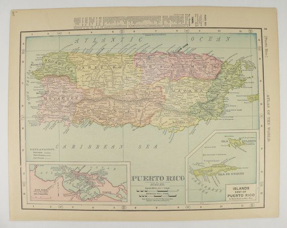 Antique Puerto Rico Map 1899 United States Map of Territory Growth
