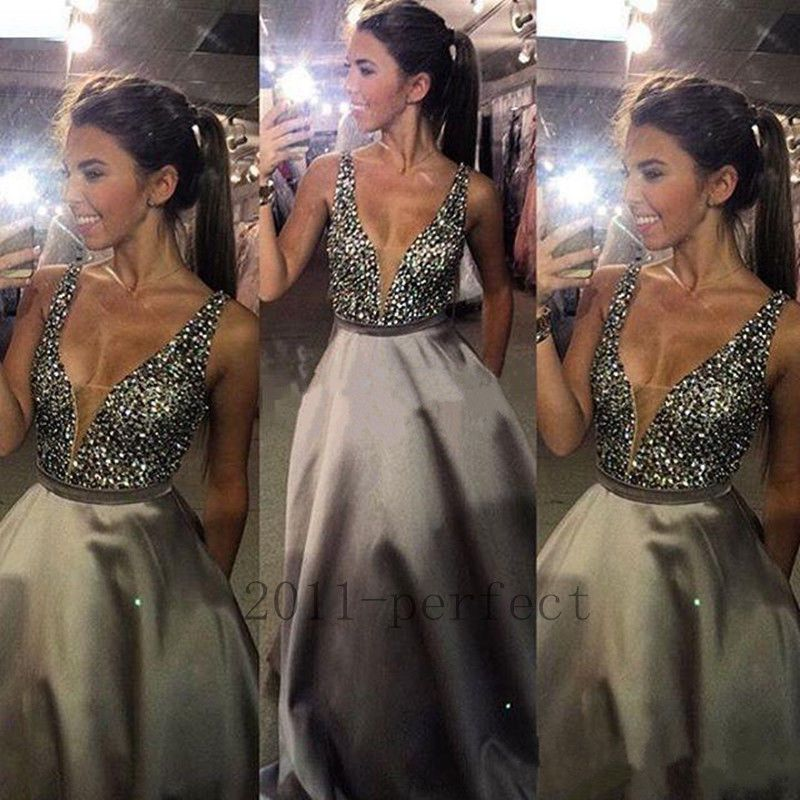 V Neck Evening Dresses Bling Rhinestones Crystals Formal Party Gowns ...