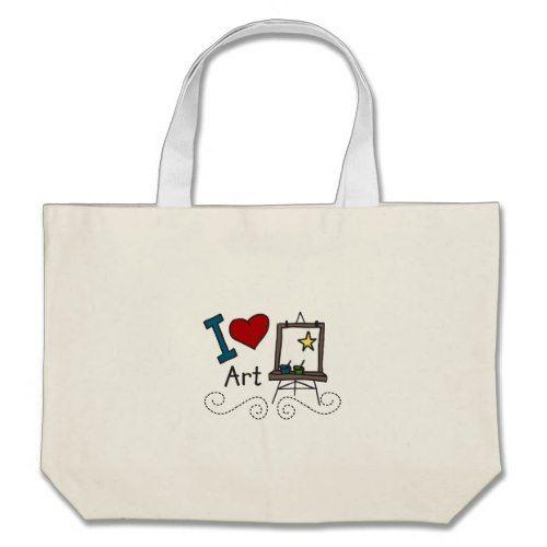 I Love Art Large Tote Bag