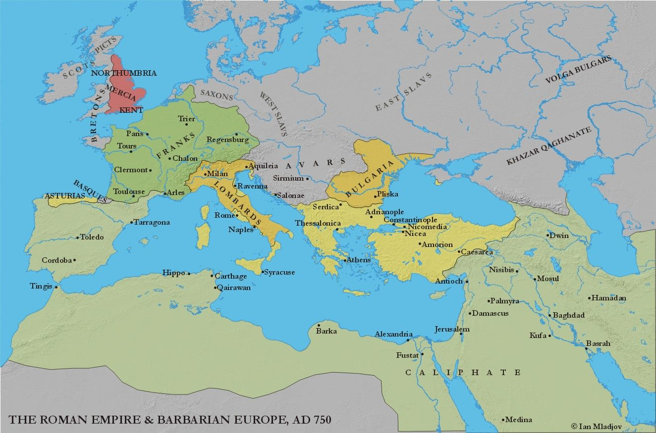 Europe and the mediterranean c750 useful historical maps map showing the carolingian empire sciox Choice Image