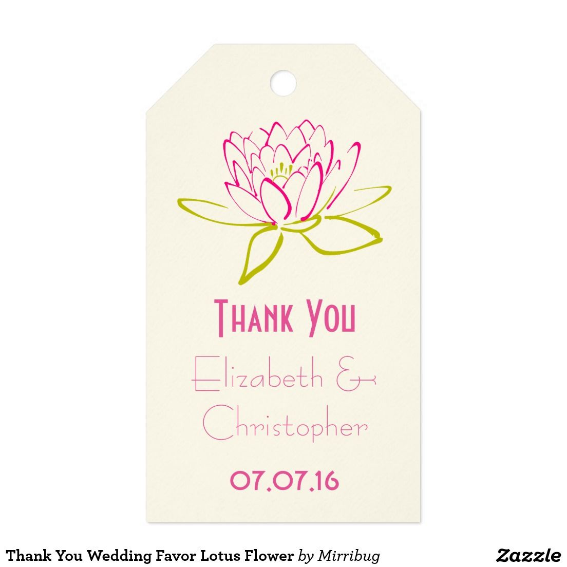 Thank You Wedding Favor Lotus Flower Pack Of Gift Tags | Wedding ...
