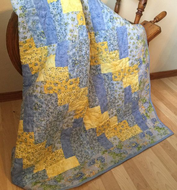 Yellow and Blue Quilt, Handmade Quilts for Sale, Homemade Quilts ... : handmade quilts for sale etsy - Adamdwight.com