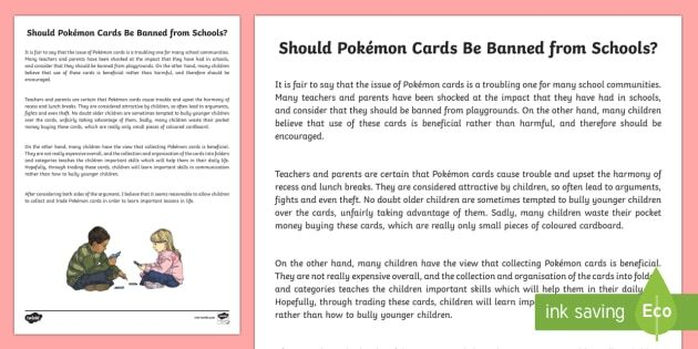 Should Pokemon Cards Be Banned From Schools? Discussion Writing