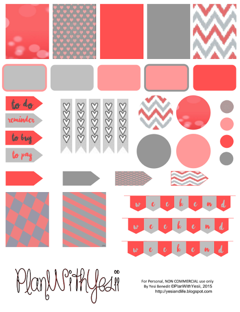 Plan with yesii coral grey free planner sticker printables
