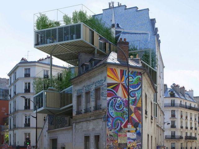 sur l vation insolite des maisons juch es sur le toit des immeubles architecture et paris. Black Bedroom Furniture Sets. Home Design Ideas