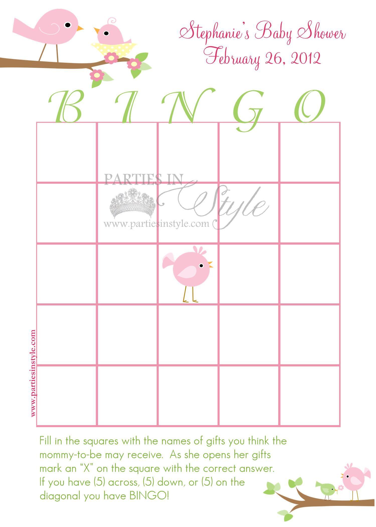 Baby Shower Game   Bingo   Printable DIY