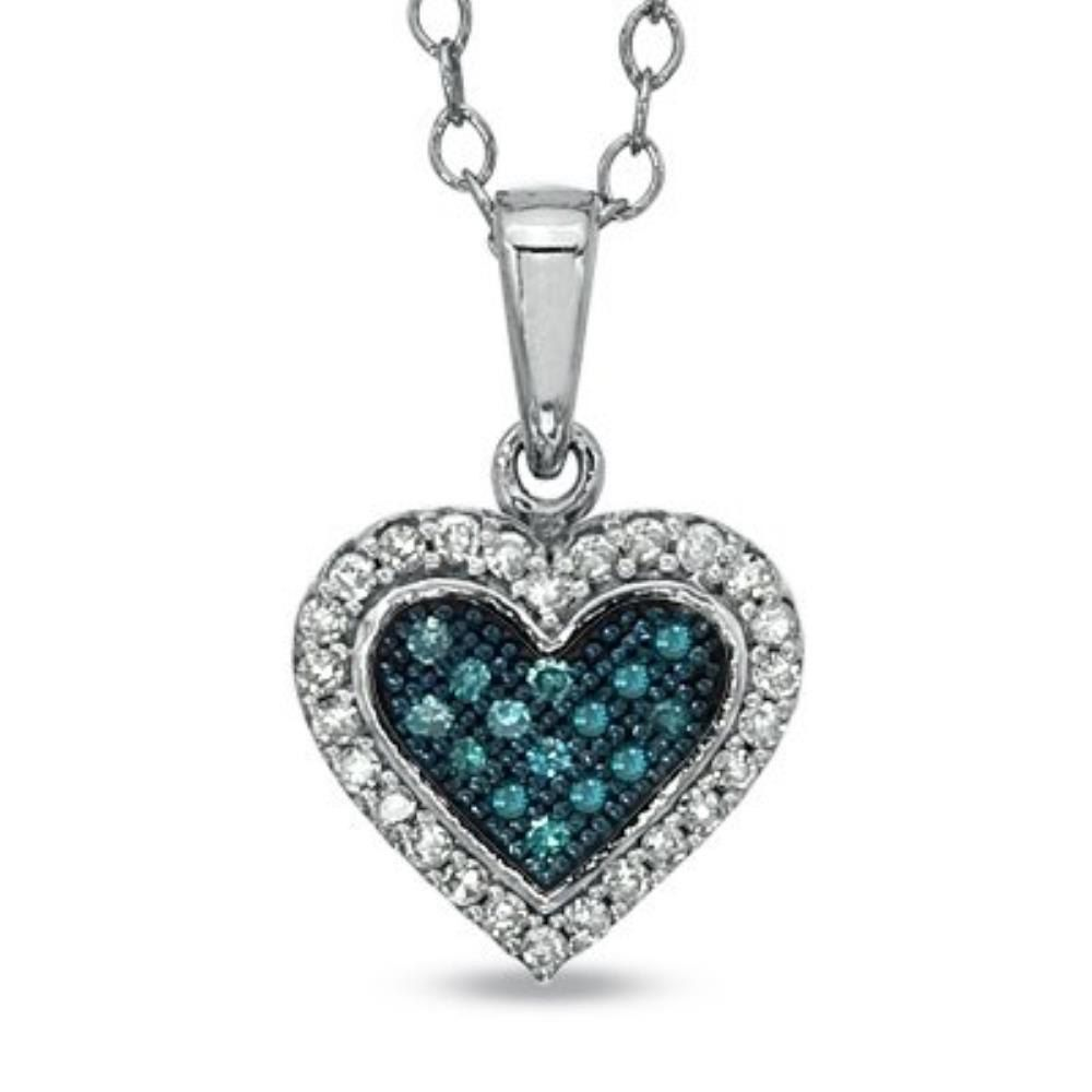 Kt white gold blue u white diamond heart shape pendant by
