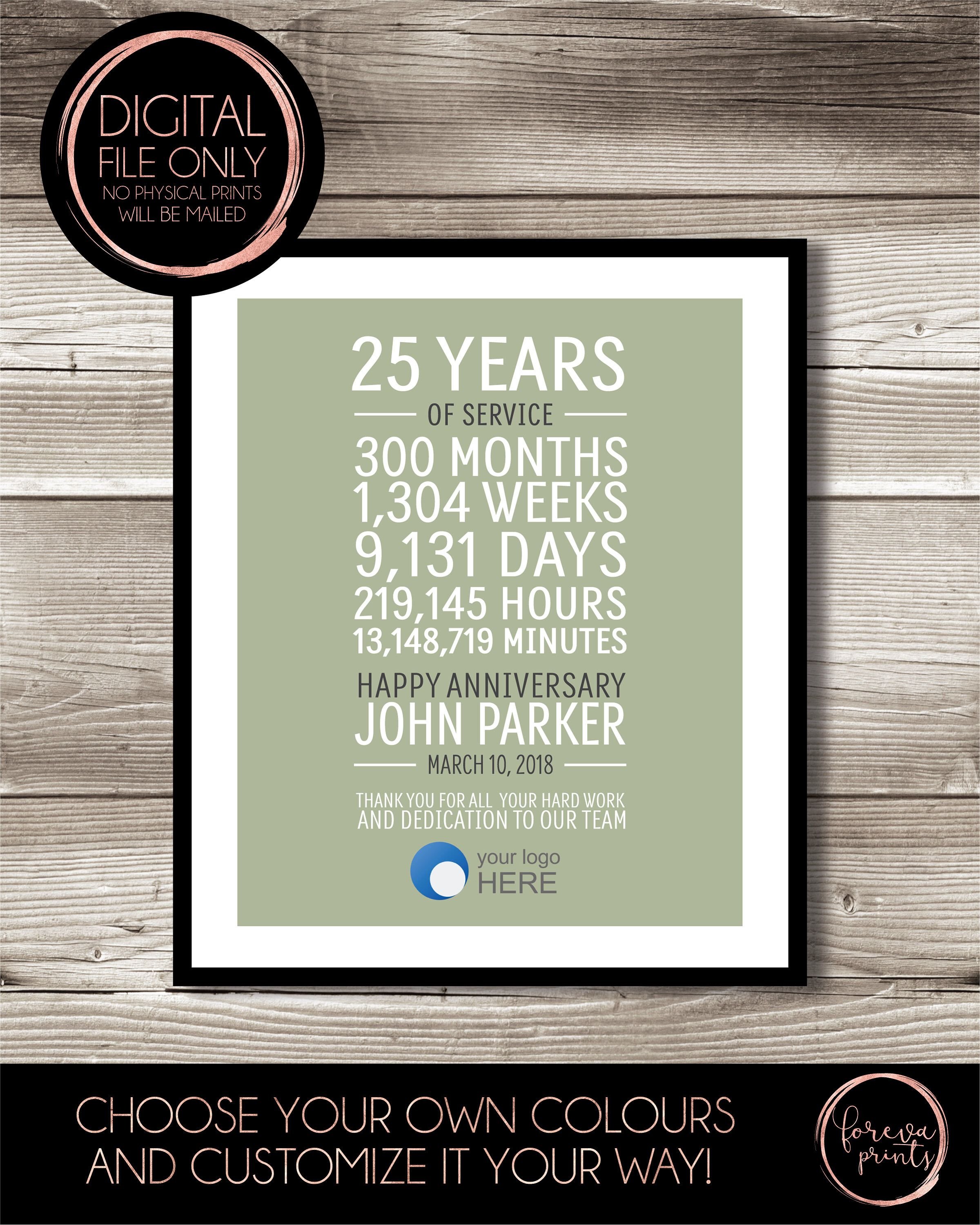 25 Year Work Anniversary Print 25 Years Of Service Customizable Thank You Gift Years Of Service Employee Recognition Appreciation Gift Work Anniversary Work Anniversary Gifts Employee Recognition