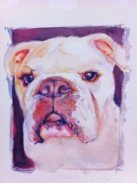 Pet Portrait Print English Bulldog  11x14 by Joneile Emery, Joneilesart on Etsy